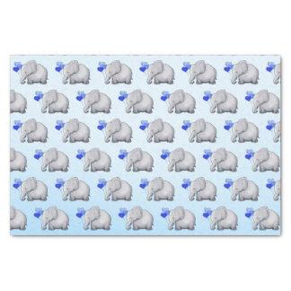 Cute Blue Heart Balloons Elephant Baby Boy Shower Tissue Paper