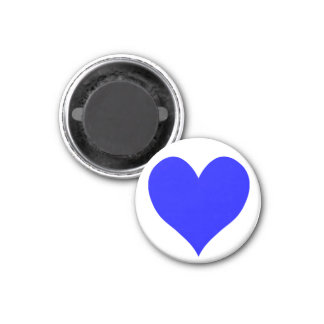 Cute Blue Heart Shape 1 Inch Round Magnet