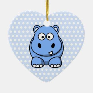 Cute Blue Hippo Ceramic Heart Ornament