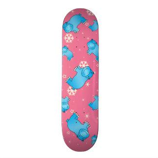 Cute blue hippo christmas pink snowflakes skate decks