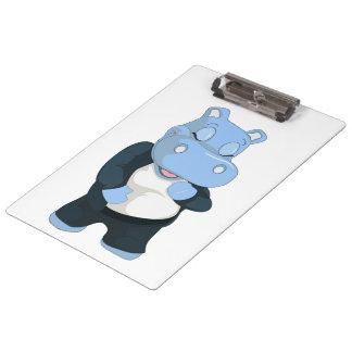 CUTE BLUE HIPPO CLIPBOARD