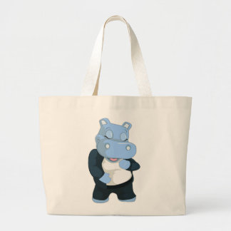 CUTE BLUE HIPPO LARGE TOTE BAG