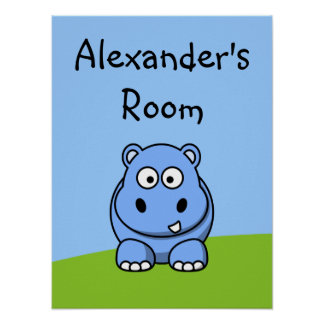 Cute Blue Hippo Poster