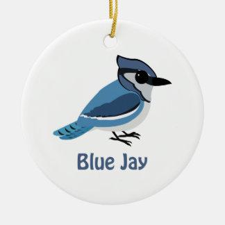 Cute Blue Jay Round Ceramic Ornament