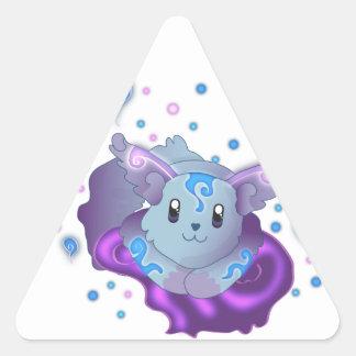 Cute Blue Kawaii Frozen Flame Fox Triangle Sticker