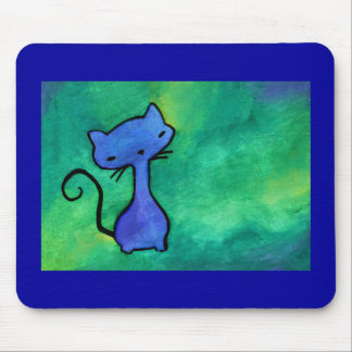 Cute blue kitty cat Mouse Pad