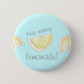 Cute blue lemon pattern motivational pin