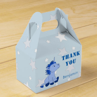 Cute Blue Litle Unicorn and Stars Birthday Party Favor Box