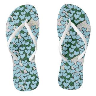 Cute Blue Love Hearts Green Tree Pattern Flip Flops