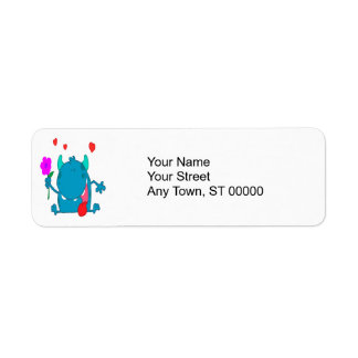 cute blue love monster return address label