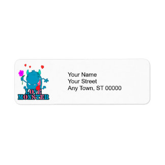 cute blue love monster with text return address label