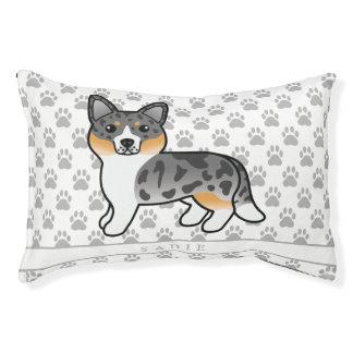 Cute Blue Merle Cardigan Welsh Corgi & Dog's Name Pet Bed