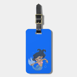 Cute Blue Mermaid (dark hair, dark skin) Luggage Tag