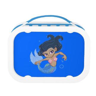 Cute Blue Mermaid (dark hair, dark skin) Lunch Box
