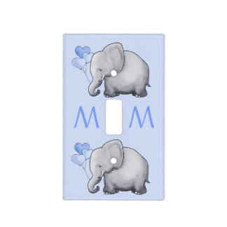 Cute Blue Monogram Elephant Baby Boy's Nursery Light Switch Cover