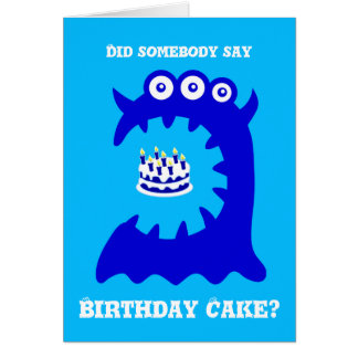 Cute Blue Monster Birthday Greeting Card