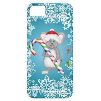 Cute Blue Mouse Holding Candy Cane Christmas iPhone 5 Covers