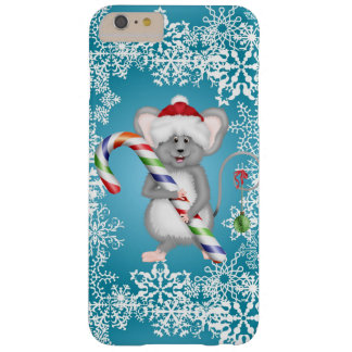 Cute Blue Mouse Holding Candy Cane Holliday Barely There iPhone 6 Plus Case