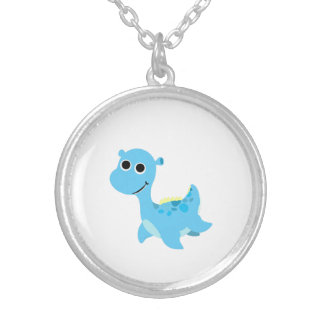 Cute Blue Nessie Silver Plated Necklace