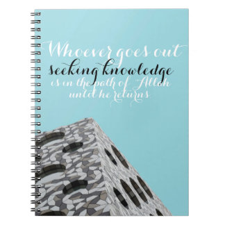 cute blue notebook with Hadith about knowledge
