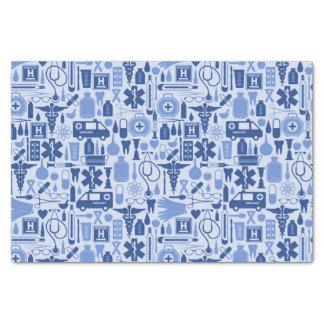 Cute Blue Nurse Doctor Medical Pattern Tissue Paper