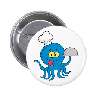 cute blue octopus chef with serving platter pinback buttons