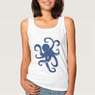 Cute Blue Octopus Illustration Tank Top