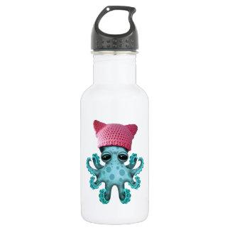Cute Blue Octopus Wearing Pussy Hat 532 Ml Water Bottle