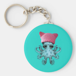 Cute Blue Octopus Wearing Pussy Hat Basic Round Button Keychain