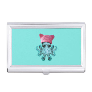 Cute Blue Octopus Wearing Pussy Hat Business Card Holder