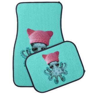Cute Blue Octopus Wearing Pussy Hat Car Mat