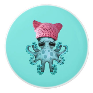 Cute Blue Octopus Wearing Pussy Hat Ceramic Knob