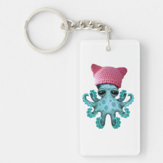 Cute Blue Octopus Wearing Pussy Hat Double-Sided Rectangular Acrylic Keychain