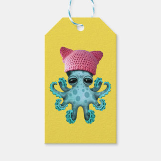 Cute Blue Octopus Wearing Pussy Hat Gift Tags