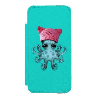 Cute Blue Octopus Wearing Pussy Hat Incipio Watson™ iPhone 5 Wallet Case