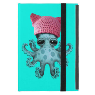 Cute Blue Octopus Wearing Pussy Hat iPad Mini Cover