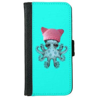 Cute Blue Octopus Wearing Pussy Hat iPhone 6 Wallet Case