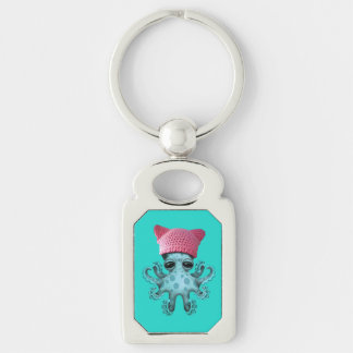 Cute Blue Octopus Wearing Pussy Hat Silver-Colored Rectangle Keychain