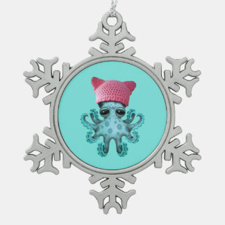Cute Blue Octopus Wearing Pussy Hat Snowflake Pewter Christmas Ornament