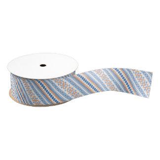 Cute blue orange Aztec Tribal Motif Pattern Grosgrain Ribbon
