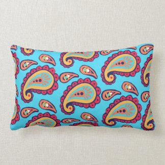 Cute Blue Orange Paisley Print Lumbar Pillow