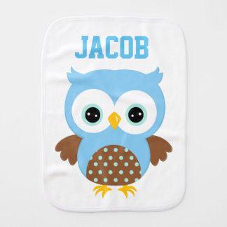 Cute Blue Owl Burp Cloth