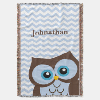 Cute Blue Owl Chevron Zigzag Custom Throw Blanket