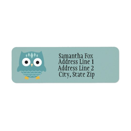 Cute Blue Owl Custom Return Address Labels