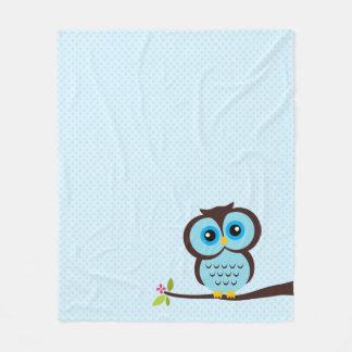 Cute Blue Owl Fleece Blanket