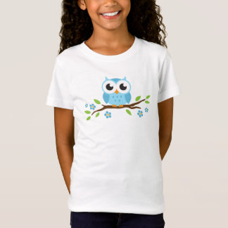 Cute blue owl on branch with flowers and leaves T-Shirt