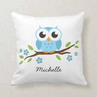 Cute blue owl on floral branch personalized name throw pillows