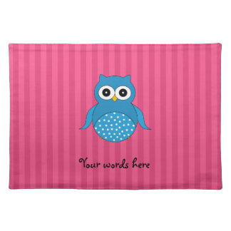 Cute blue owl pink stripes placemat