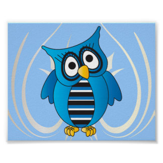 Cute Blue Owl Poster