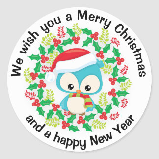Cute Blue Owl Santa Hat Merry Christmas Happy New Classic Round Sticker